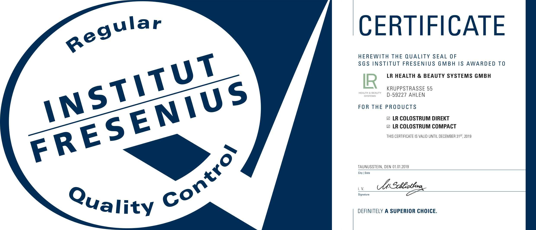 SGS_Institut_Fresenius_certifikat_ke_Colostru